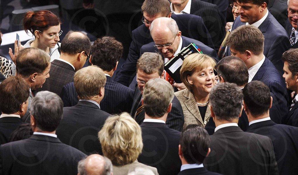 German Chancellor Merkel (CDU) votes / Reichstag @ Berlin